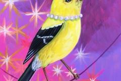 """Festive Goldfinch I"" - Acrylic by Lisa Shimko - $75"