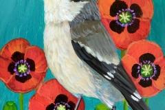 """Loggerhead Shrike Poppies"" - Acrylic by Lisa Shimko - $75"