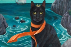 """""""Luck Cat"""" - Acrylic by Lisa Shimko - $500"""