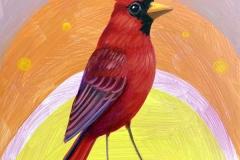 """Sherbet Cardinal"" - Acrylic by Lisa Shimko - $60"