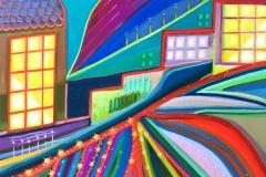 """""""Strange Garden Vista"""" - Acrylic by Lisa Shimko - $150"""