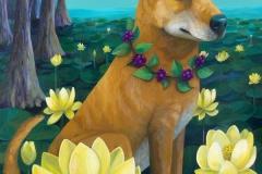 """""""Swamp Flowers Carolina Dog"""" - Acrylic by Lisa Shimko - $500"""
