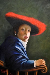 A Girl in a Red Hat OIL Jim Alexander