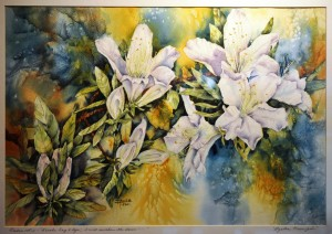 PAINTED LADIES Azalea Trumpets WATERCOLOR Anita Seitz