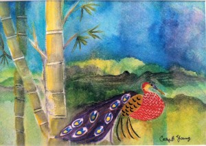 PAINTED LADIES Bird of Paradise WATERCOLOR Cathy Young