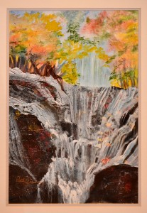 Waterfall WATERCOLOR COLLAGE Patti Gobel