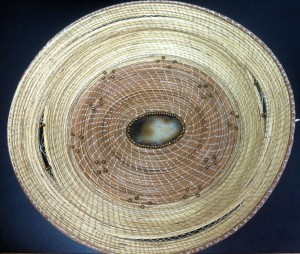 d meredith basket with geode pine needles