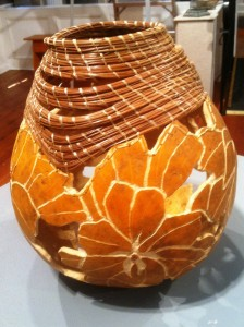 Dorothy Meredith Carved Gourd  pine needles on gourd