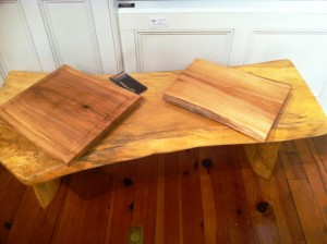 Jeff Cox Bench and Carving Boards wood