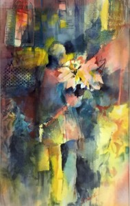 Beti Strobeck Woman with Flowers Watercolor  $250