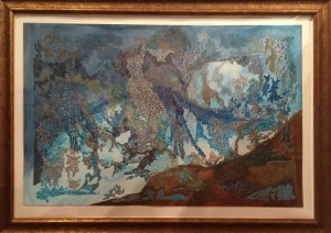 Kate Landishaw Blue Intricacy Mixed Media  $695