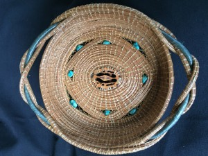 Dorothy Meredith Walnut Shell Basket Pine Needles  $125