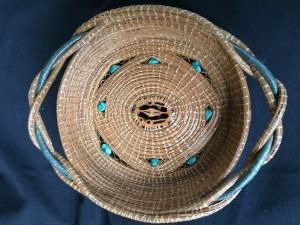 Dorothy Meredith Walnut Shell Basket Pine Needles  $125