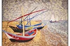 """""""Van Gogh's Fishing Boats"""" by Brenda Bigelow ~ Art Quilt ~ Not for Sale ~ Inspired by Vincent Van Gogh's """"Fishing Boats"""