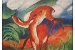 """""""FM 'Expressionism', Red Deer"""" by Bonnie Lamarand ~ Acrylic ~ $200"""