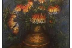 """""""Fritillaries in Copper Vase Fudgery"""" by Laura Havran ~ Acrylic ~ $145"""